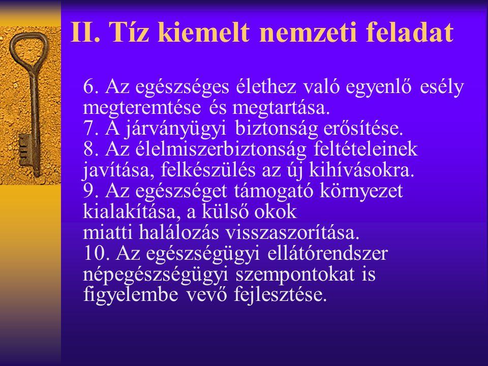 II.Tíz kiemelt nemzeti feladat 6.