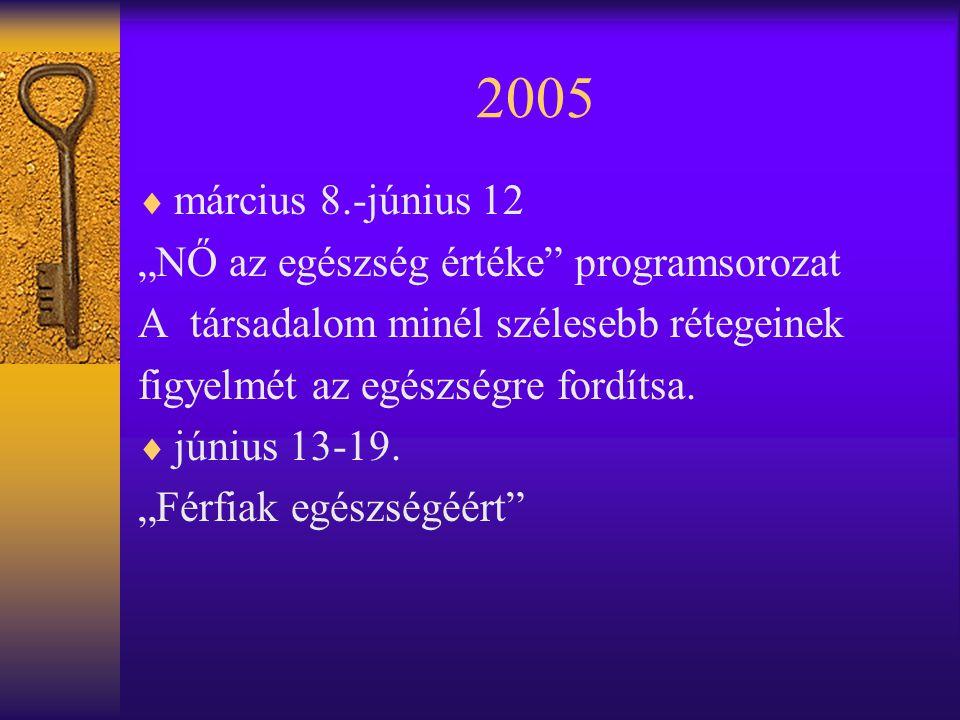 """2005  március 8.-június 12 """"NŐ az egészség értéke programsorozat A társadalom minél szélesebb rétegeinek figyelmét az egészségre fordítsa."""