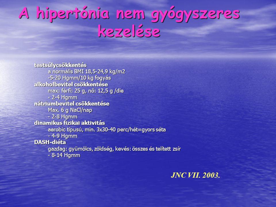 JNC VII. 2003. testsúlycsökkentés a normális BMI 18,5-24,9 kg/m2 -5-20 Hgmm/10 kg fogyás alkoholbevitel csökkentése max: férfi: 25 g, nő: 12,5 g /die