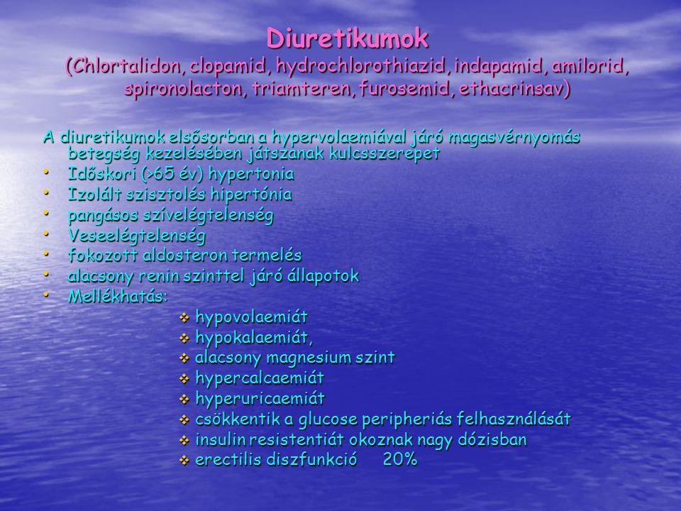 Diuretikumok (Chlortalidon, clopamid, hydrochlorothiazid, indapamid, amilorid, spironolacton, triamteren, furosemid, ethacrinsav) A diuretikumok elsős
