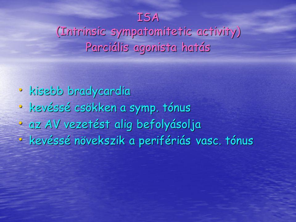 ISA (Intrinsic sympatomitetic activity) Parciális agonista hatás kisebb bradycardia kisebb bradycardia kevéssé csökken a symp. tónus kevéssé csökken a