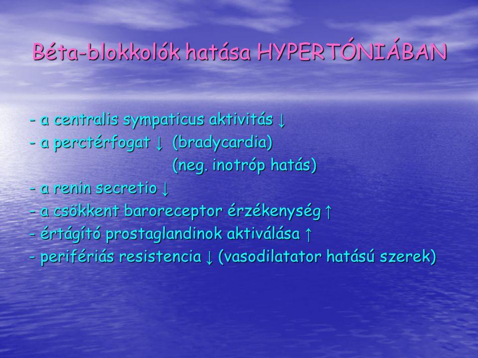 Béta-blokkolók hatása HYPERTÓNIÁBAN - a centralis sympaticus aktivitás ↓ - a perctérfogat ↓ (bradycardia) (neg. inotróp hatás) - a renin secretio ↓ -