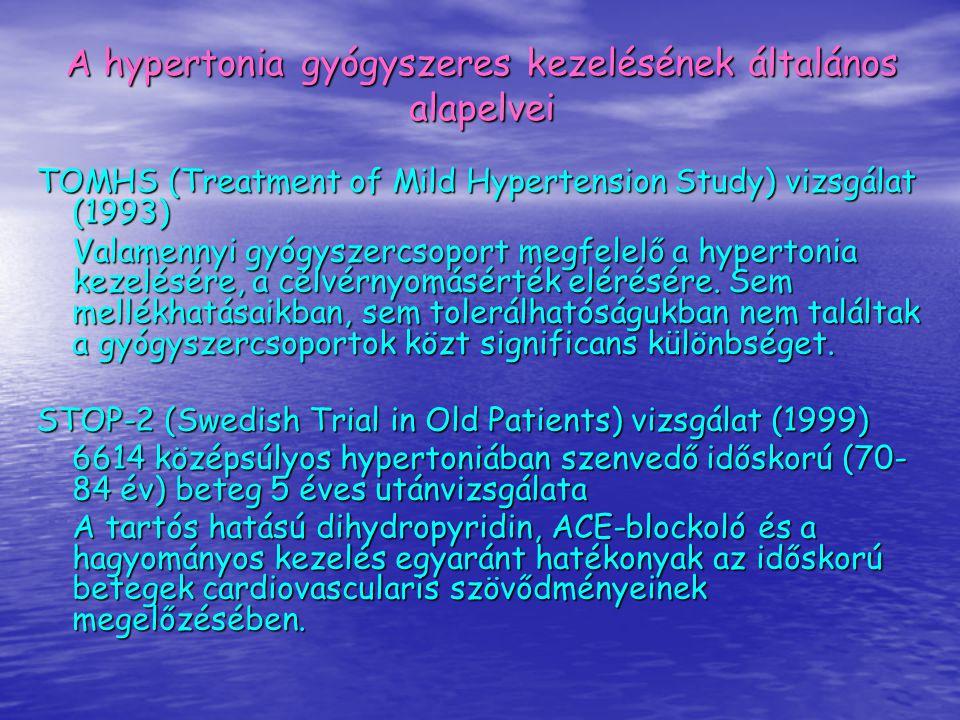 TOMHS (Treatment of Mild Hypertension Study) vizsgálat (1993) Valamennyi gyógyszercsoport megfelelő a hypertonia kezelésére, a célvérnyomásérték eléré