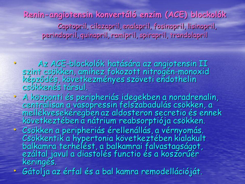 Az ACE-blockolók hatására az angiotensin II szint csökken, amihez fokozott nitrogén-monoxid képződés, következményes szöveti endothelin csökkenés társ