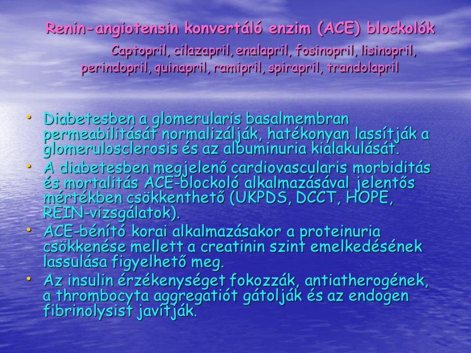 Diabetesben a glomerularis basalmembran permeabilitását normalizálják, hatékonyan lassítják a glomerulosclerosis és az albuminuria kialakulását. Diabe