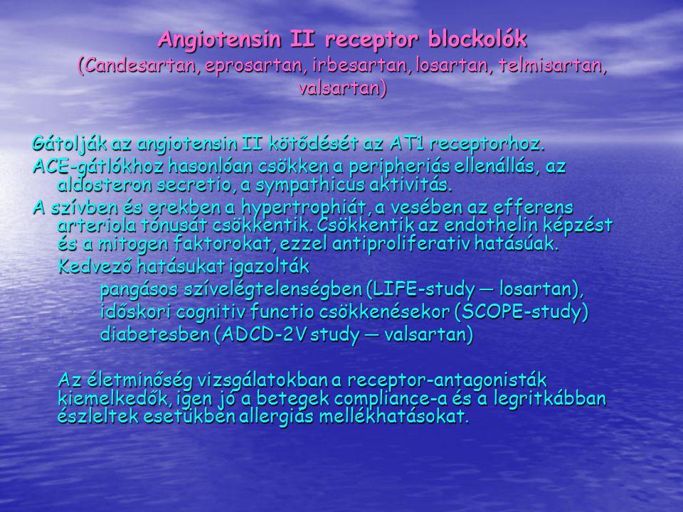 Angiotensin II receptor blockolók (Candesartan, eprosartan, irbesartan, losartan, telmisartan, valsartan) Gátolják az angiotensin II kötődését az AT1