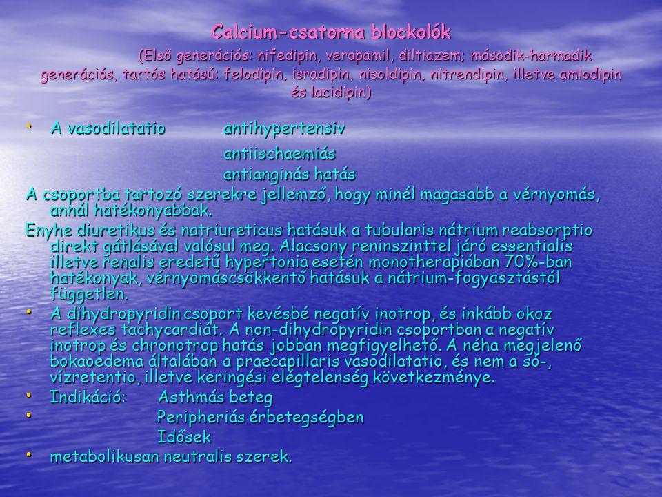 Calcium-csatorna blockolók (Első generációs: nifedipin, verapamil, diltiazem; második-harmadik generációs, tartós hatású: felodipin, isradipin, nisold