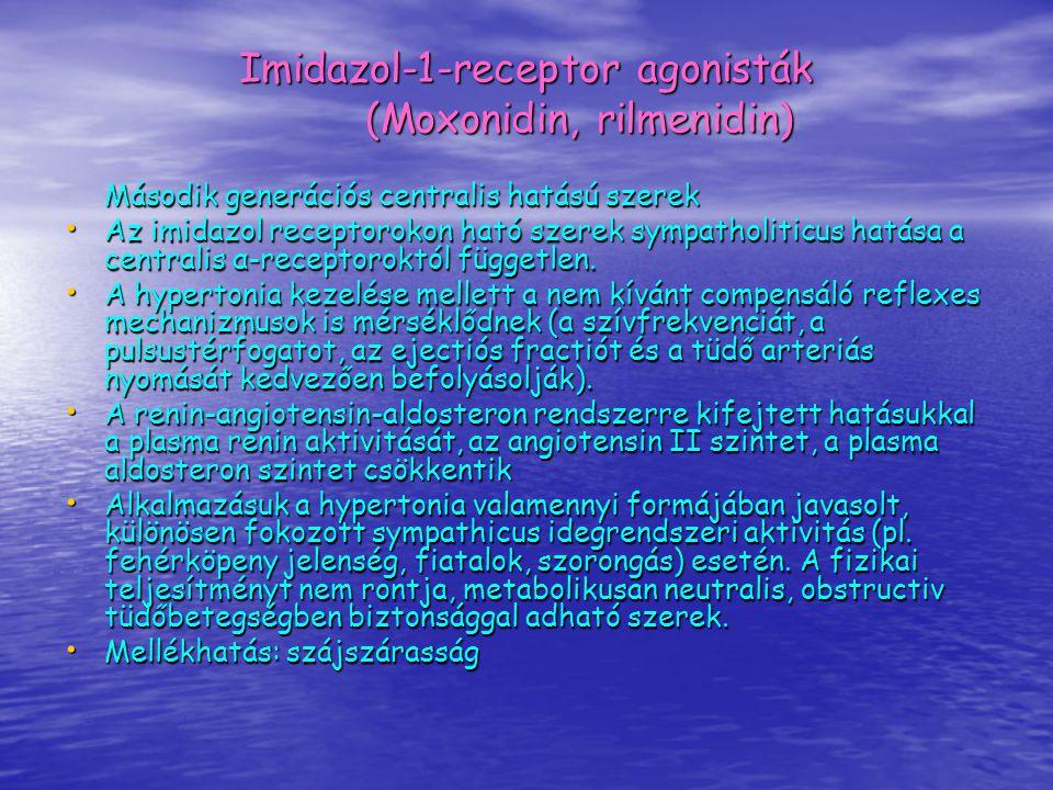 Imidazol-1-receptor agonisták (Moxonidin, rilmenidin) Második generációs centralis hatású szerek Az imidazol receptorokon ható szerek sympatholiticus