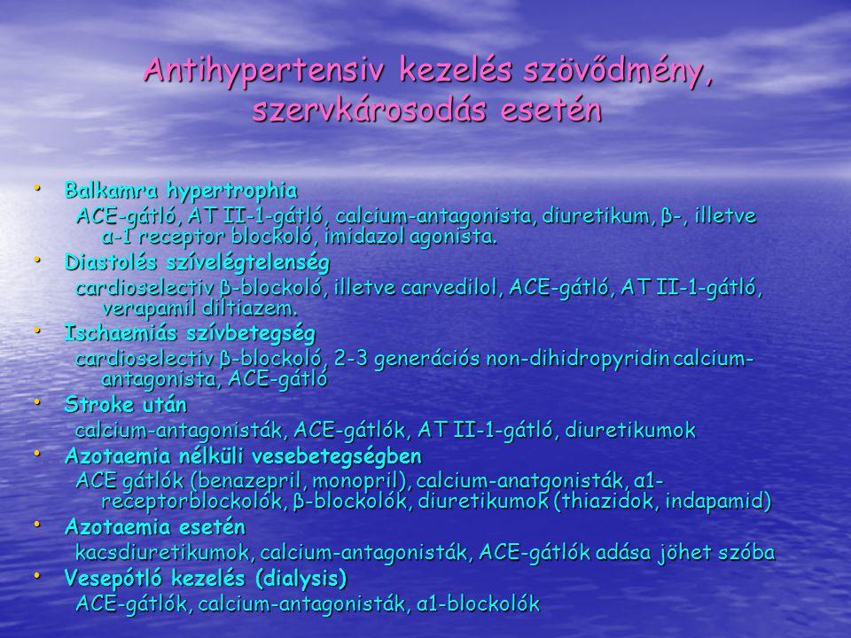 Antihypertensiv kezelés szövődmény, szervkárosodás esetén Balkamra hypertrophia Balkamra hypertrophia ACE-gátló, AT II-1-gátló, calcium-antagonista, d
