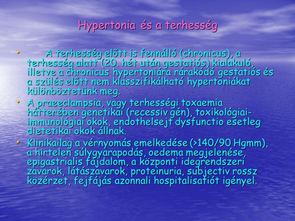 Hypertonia és a terhesség A terhesség előtt is fennálló (chronicus), a terhesség alatt (20. hét után gestatiós) kialakuló, illetve a chronicus hyperto