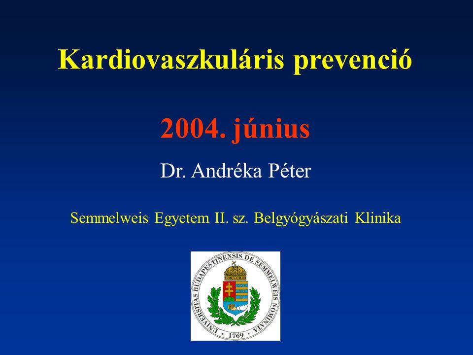 Kardiovaszkuláris prevenció 2004. június Dr. Andréka Péter Semmelweis Egyetem II. sz. Belgyógyászati Klinika