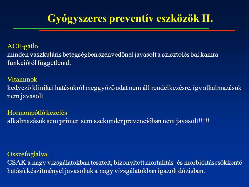 Gyógyszeres preventív eszközök II. ACE-gátló minden vaszkuláris betegségben szenvedőnél javasolt a szisztolés bal kamra funkciótól függetlenül. Vitami
