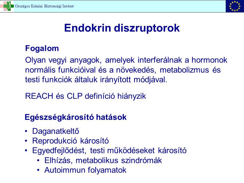 Endokrin diszruptorok Fogalom Olyan vegyi anyagok, amelyek interferálnak a hormonok normális funkcióival és a növekedés, metabolizmus és testi funkció
