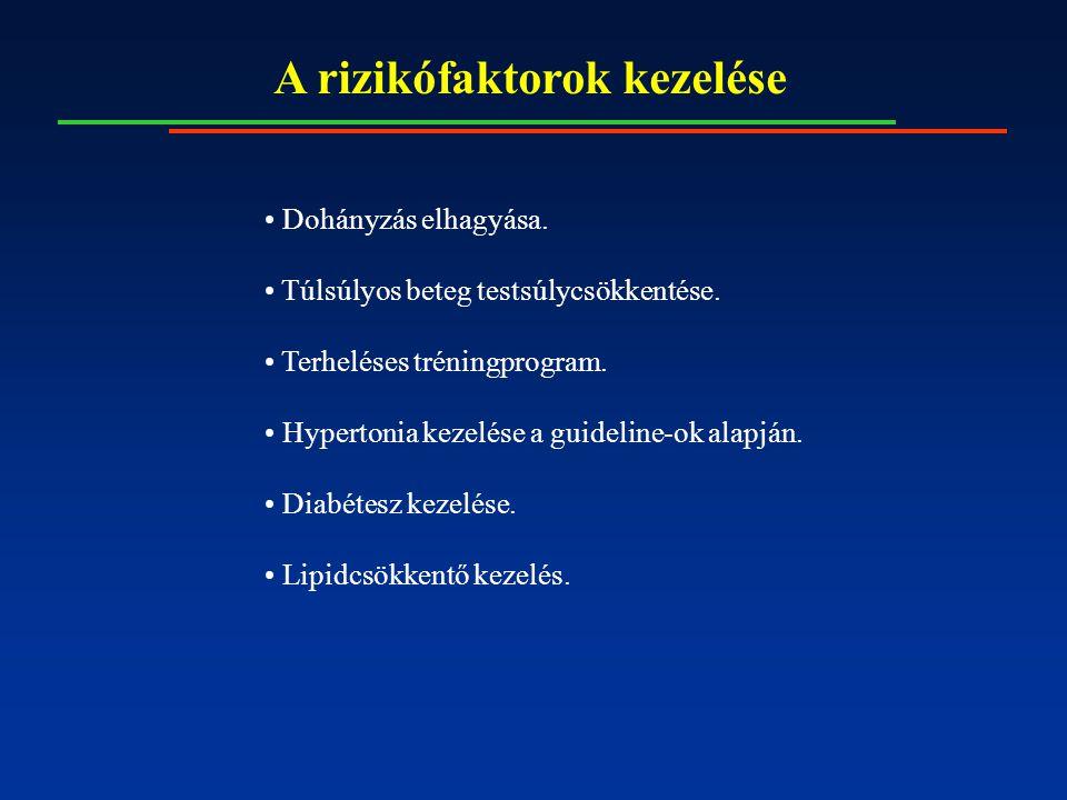 A rizikófaktorok kezelése Dohányzás elhagyása. Túlsúlyos beteg testsúlycsökkentése. Terheléses tréningprogram. Hypertonia kezelése a guideline-ok alap
