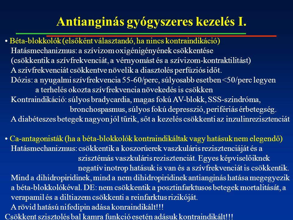 Antianginás gyógyszeres kezelés I.