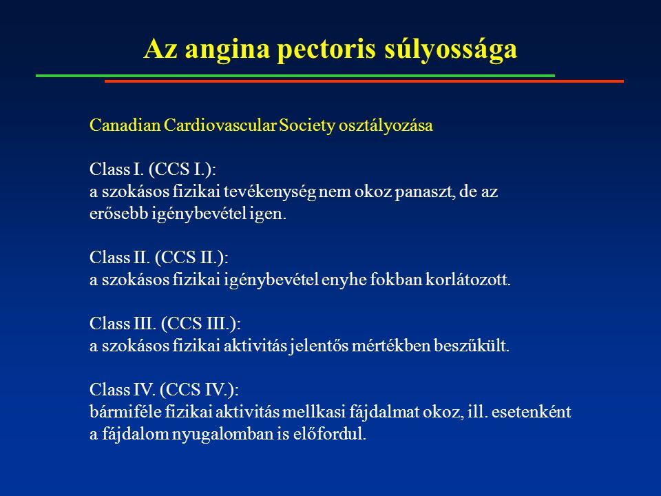 Az angina pectoris súlyossága Canadian Cardiovascular Society osztályozása Class I. (CCS I.): a szokásos fizikai tevékenység nem okoz panaszt, de az e