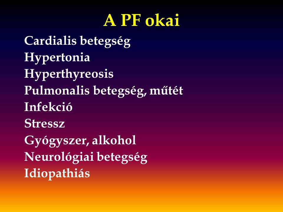A PF okai Cardialis betegség Hypertonia Hyperthyreosis Pulmonalis betegség, műtét Infekció Stressz Gyógyszer, alkohol Neurológiai betegség Idiopathiás