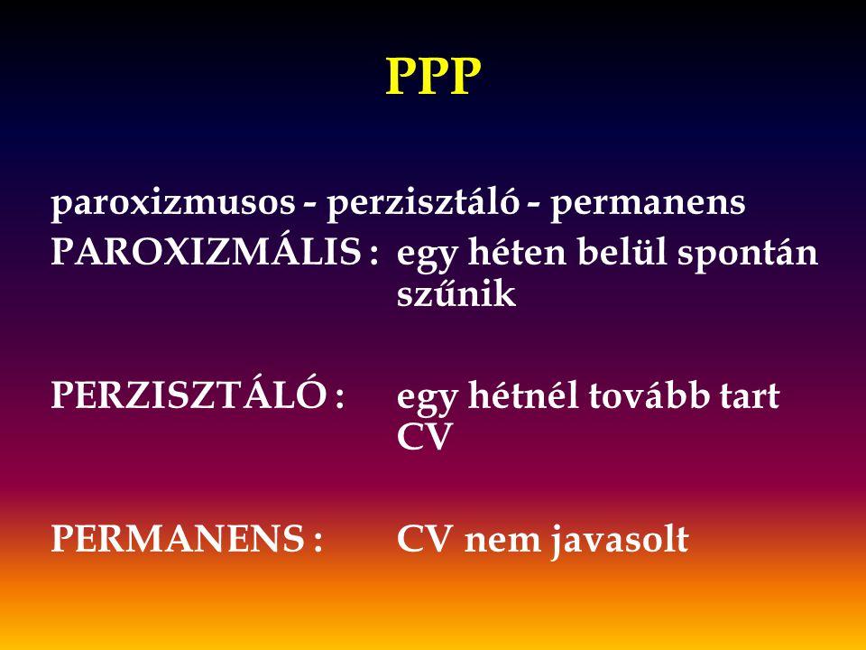 PPP paroxizmusos - perzisztáló - permanens PAROXIZMÁLIS :egy héten belül spontán szűnik PERZISZTÁLÓ :egy hétnél tovább tart CV PERMANENS :CV nem javas