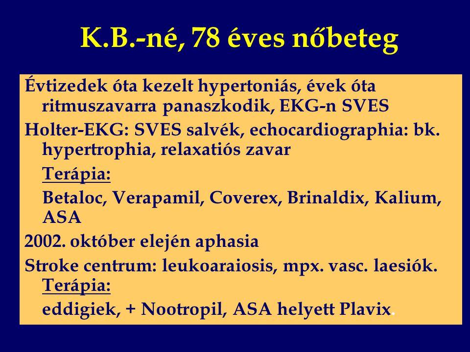 K.B.-né, 78 éves nőbeteg Évtizedek óta kezelt hypertoniás, évek óta ritmuszavarra panaszkodik, EKG-n SVES Holter-EKG: SVES salvék, echocardiographia: