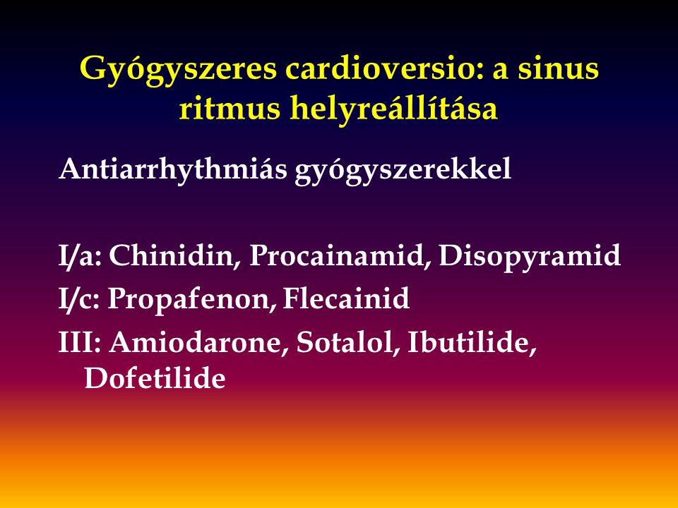 Gyógyszeres cardioversio: a sinus ritmus helyreállítása Antiarrhythmiás gyógyszerekkel I/a: Chinidin, Procainamid, Disopyramid I/c: Propafenon, Flecai