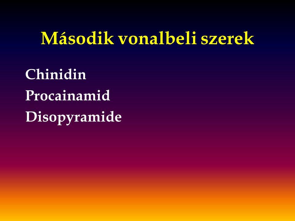 Második vonalbeli szerek Chinidin Procainamid Disopyramide