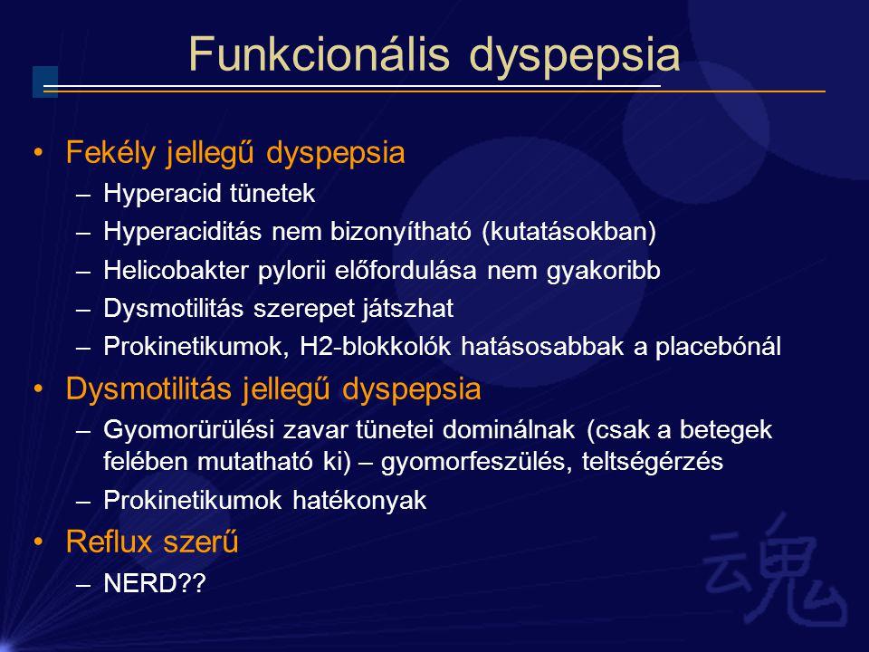 Funkcionális dyspepsia Fekély jellegű dyspepsia –Hyperacid tünetek –Hyperaciditás nem bizonyítható (kutatásokban) –Helicobakter pylorii előfordulása n