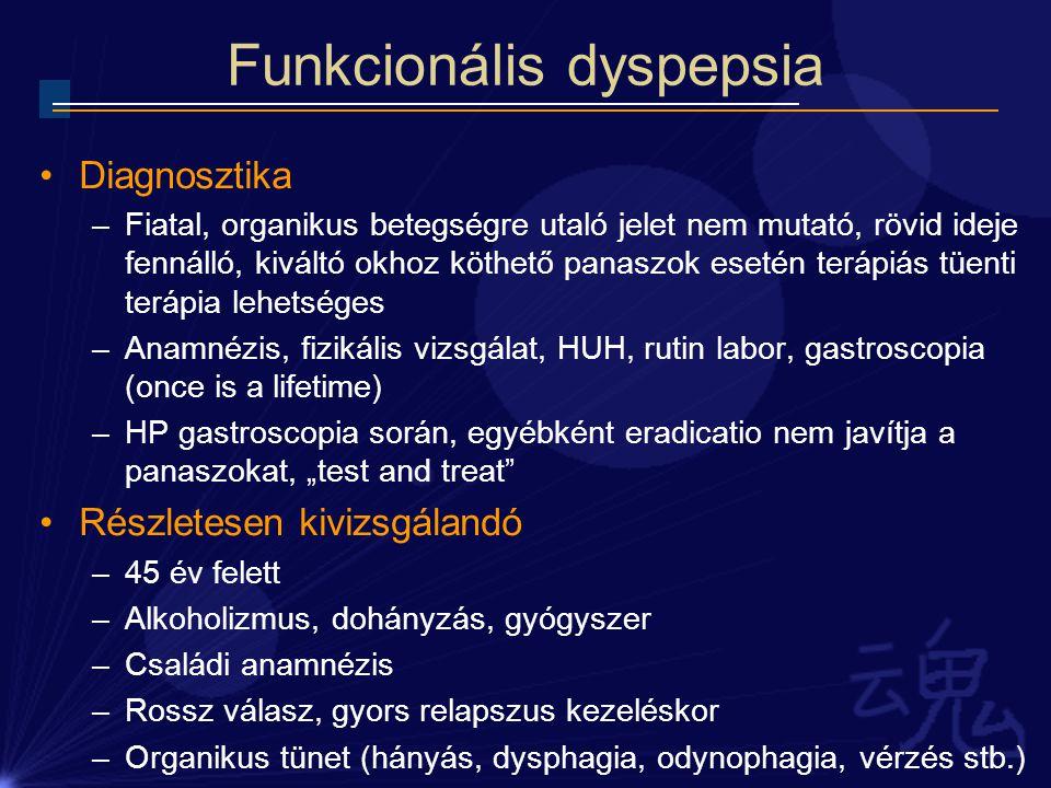 Funkcionális dyspepsia Diagnosztika –Fiatal, organikus betegségre utaló jelet nem mutató, rövid ideje fennálló, kiváltó okhoz köthető panaszok esetén