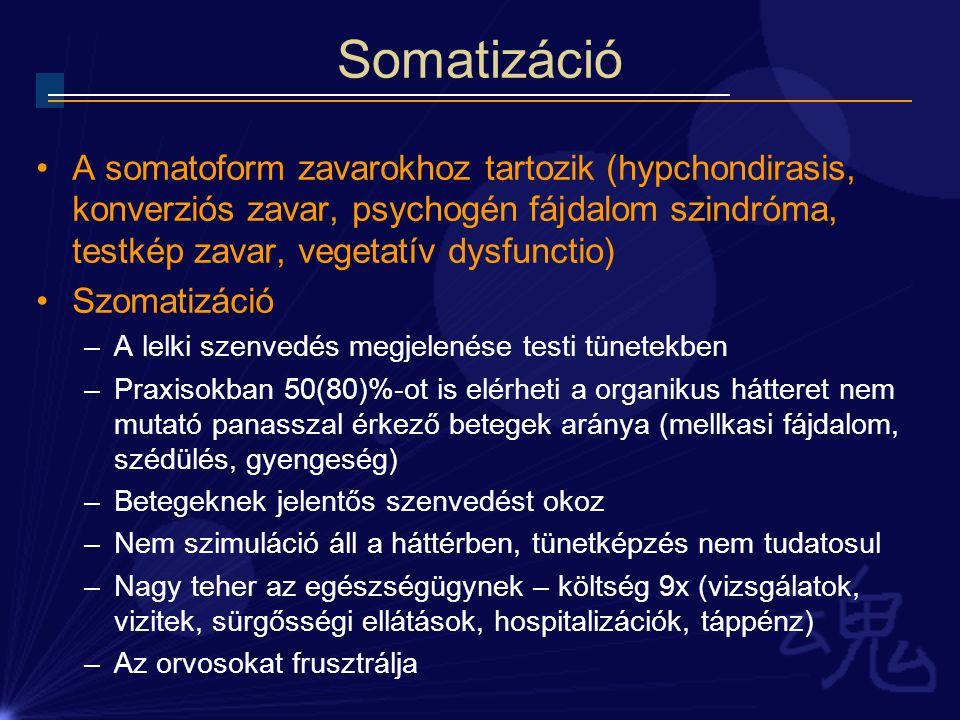 Somatizáció A somatoform zavarokhoz tartozik (hypchondirasis, konverziós zavar, psychogén fájdalom szindróma, testkép zavar, vegetatív dysfunctio) Szo