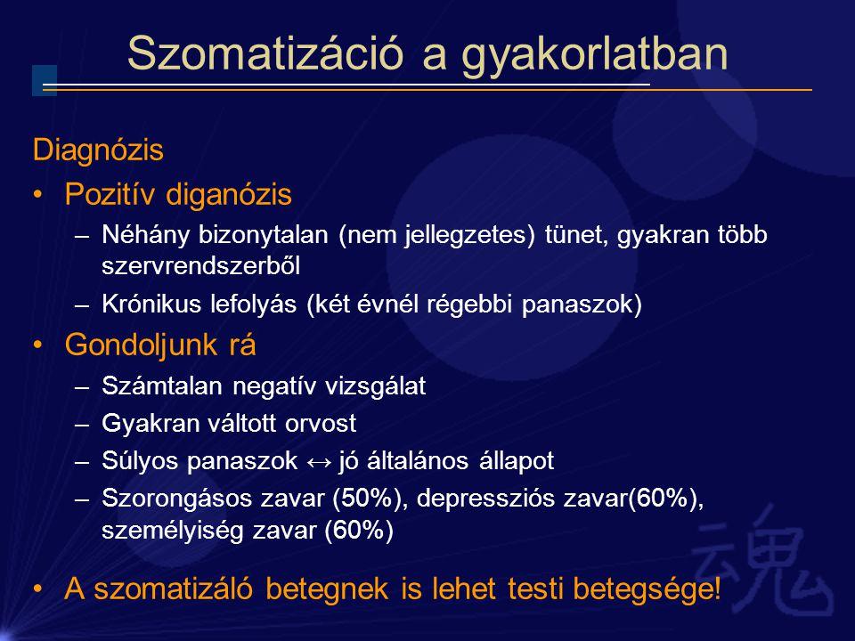 Szomatizáció a gyakorlatban Diagnózis Pozitív diganózis –Néhány bizonytalan (nem jellegzetes) tünet, gyakran több szervrendszerből –Krónikus lefolyás