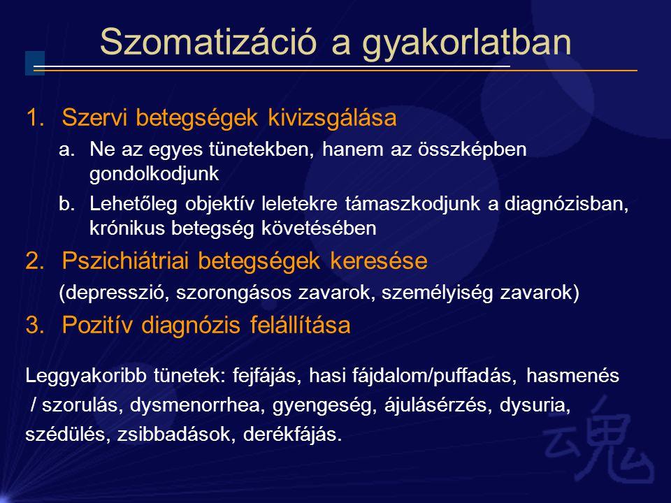 Szomatizáció a gyakorlatban 1.Szervi betegségek kivizsgálása a.Ne az egyes tünetekben, hanem az összképben gondolkodjunk b.Lehetőleg objektív leletekr