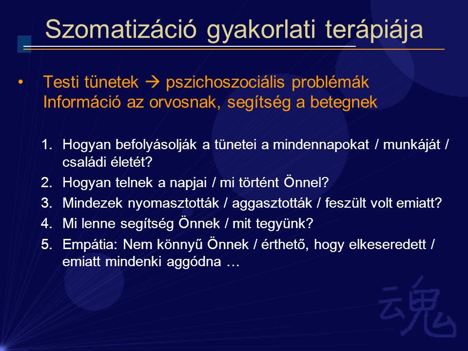 Szomatizáció gyakorlati terápiája Testi tünetek  pszichoszociális problémák Információ az orvosnak, segítség a betegnek 1.Hogyan befolyásolják a tüne