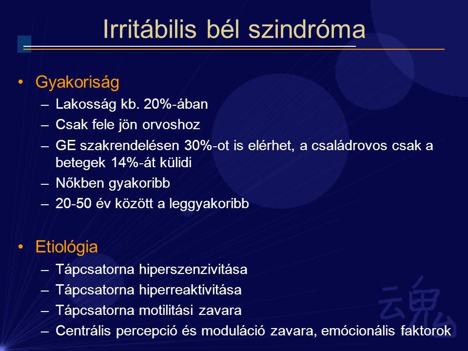 Irritábilis bél szindróma Kritériumok – Római II.Legalább 3 hónapig az előző évben.