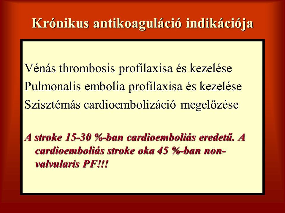 Krónikus antikoaguláció indikációja Vénás thrombosis profilaxisa és kezelése Pulmonalis embolia profilaxisa és kezelése Szisztémás cardioembolizáció m