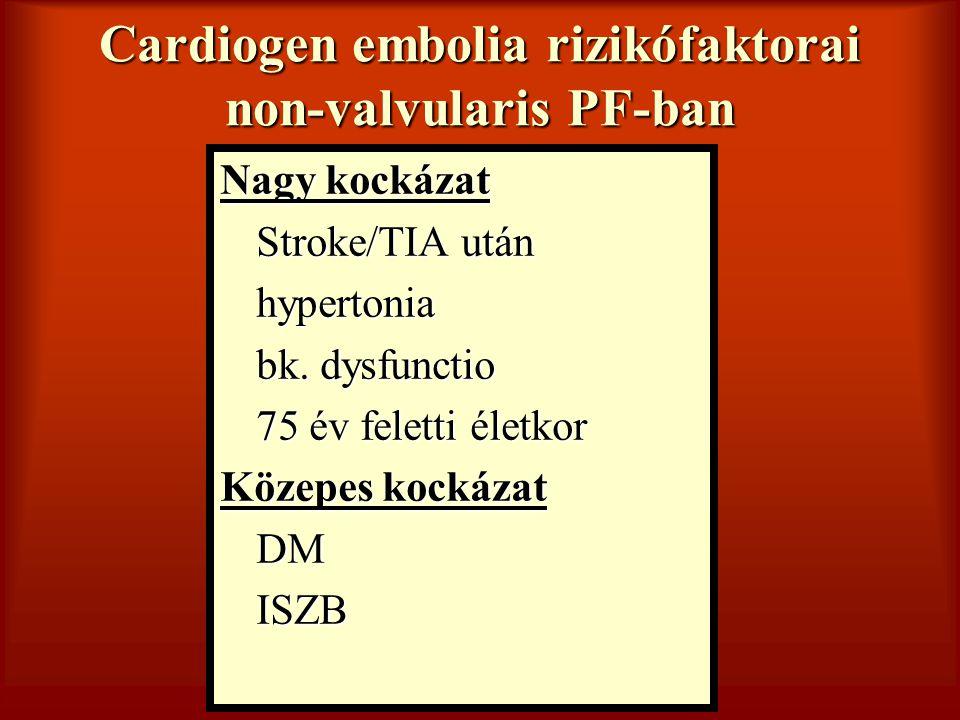 Cardiogen embolia rizikófaktorai non-valvularis PF-ban Nagy kockázat Stroke/TIA után hypertonia bk. dysfunctio 75 év feletti életkor Közepes kockázat