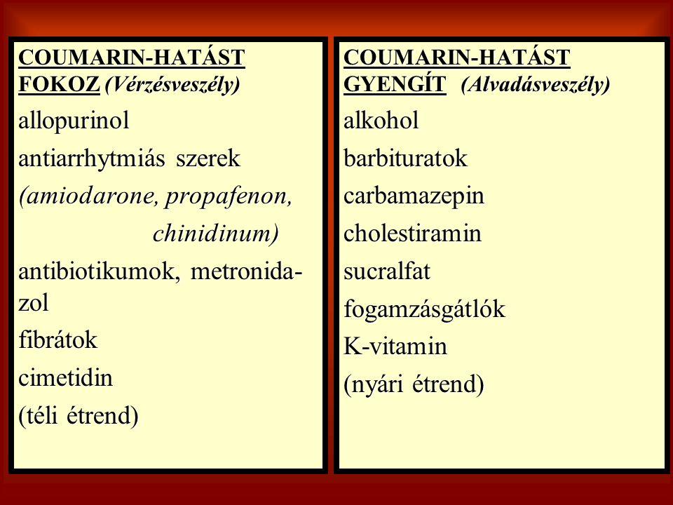 COUMARIN-HATÁST FOKOZ (Vérzésveszély) allopurinol antiarrhytmiás szerek (amiodarone, propafenon, chinidinum) antibiotikumok, metronida- zol fibrátokci