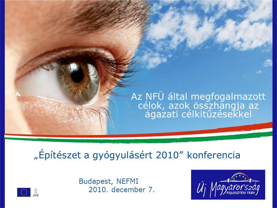 """Az NFÜ által megfogalmazott célok, azok összhangja az ágazati célkitűzésekkel """"Építészet a gyógyulásért 2010 konferencia Budapest, NEFMI 2010."""