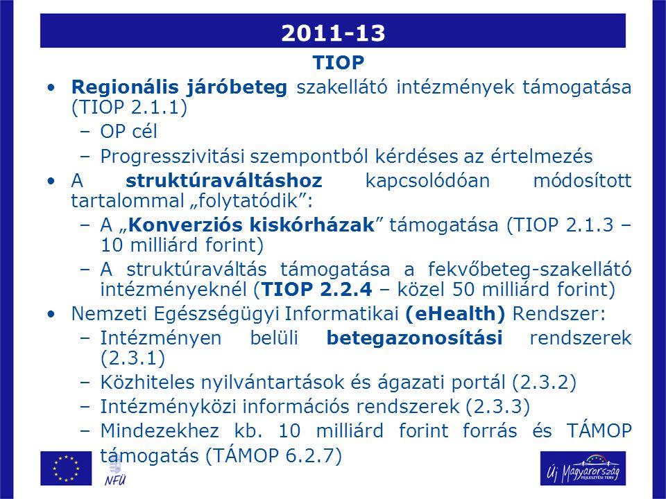 """2011-13 TIOP Regionális járóbeteg szakellátó intézmények támogatása (TIOP 2.1.1) –OP cél –Progresszivitási szempontból kérdéses az értelmezés A struktúraváltáshoz kapcsolódóan módosított tartalommal """"folytatódik : –A """"Konverziós kiskórházak támogatása (TIOP 2.1.3 – 10 milliárd forint) –A struktúraváltás támogatása a fekvőbeteg-szakellátó intézményeknél (TIOP 2.2.4 – közel 50 milliárd forint) Nemzeti Egészségügyi Informatikai (eHealth) Rendszer: –Intézményen belüli betegazonosítási rendszerek (2.3.1) –Közhiteles nyilvántartások és ágazati portál (2.3.2) –Intézményközi információs rendszerek (2.3.3) –Mindezekhez kb."""