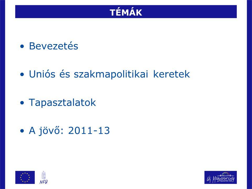 TÉMÁK Bevezetés Uniós és szakmapolitikai keretek Tapasztalatok A jövő: 2011-13
