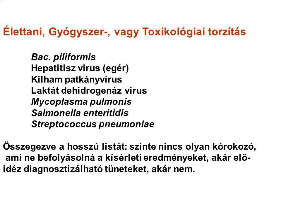 Élettani, Gyógyszer-, vagy Toxikológiai torzítás Bac. piliformis Hepatitisz virus (egér) Kilham patkányvírus Laktát dehidrogenáz virus Mycoplasma pulm