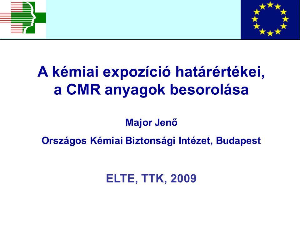 A kémiai expozíció határértékei, a CMR anyagok besorolása Major Jenő Országos Kémiai Biztonsági Intézet, Budapest ELTE, TTK, 2009
