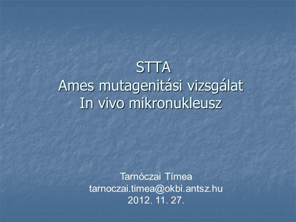 STTA Ames mutagenitási vizsgálat In vivo mikronukleusz STTA Ames mutagenitási vizsgálat In vivo mikronukleusz Tarnóczai Tímea tarnoczai.timea@okbi.antsz.hu 2012.