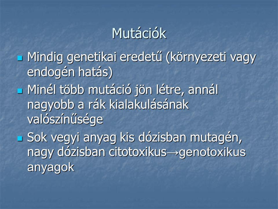 Mutációk Mindig genetikai eredetű (környezeti vagy endogén hatás) Mindig genetikai eredetű (környezeti vagy endogén hatás) Minél több mutáció jön létre, annál nagyobb a rák kialakulásának valószínűsége Minél több mutáció jön létre, annál nagyobb a rák kialakulásának valószínűsége Sok vegyi anyag kis dózisban mutagén, nagy dózisban citotoxikus →genotoxikus anyagok Sok vegyi anyag kis dózisban mutagén, nagy dózisban citotoxikus →genotoxikus anyagok