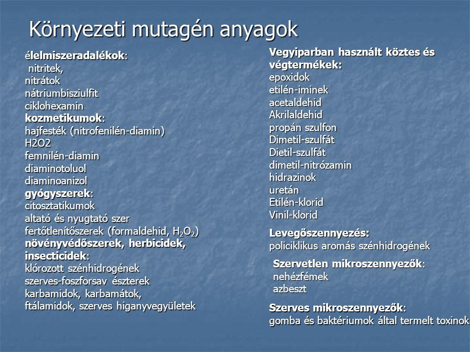 Környezeti mutagén anyagok élelmiszeradalékok: nitritek, nitritek,nitrátoknátriumbisziulfitciklohexamin kozmetikumok: hajfesték (nitrofenilén-diamin) H2O2femnilén-diamindiaminotoluoldiaminoanizol gyógyszerek: citosztatikumok altató és nyugtató szer fertőtlenítőszerek (formaldehid, H 2 O 2 ) növényvédőszerek, herbicidek, insecticidek: klórozott szénhidrogének szerves-foszforsav észterek karbamidok, karbamátok, ftálamidok, szerves higanyvegyületek Vegyiparban használt köztes és végtermékek: epoxidoketilén-iminekacetaldehidAkrilaldehid propán szulfon Dimetil-szulfátDietil-szulfátdimetil-nitrózaminhidrazinokuretánEtilén-kloridVinil-klorid Levegőszennyezés: policiklikus aromás szénhidrogének Szervetlen mikroszennyezők: nehézfémekazbeszt Szerves mikroszennyezők: gomba és baktériumok által termelt toxinok