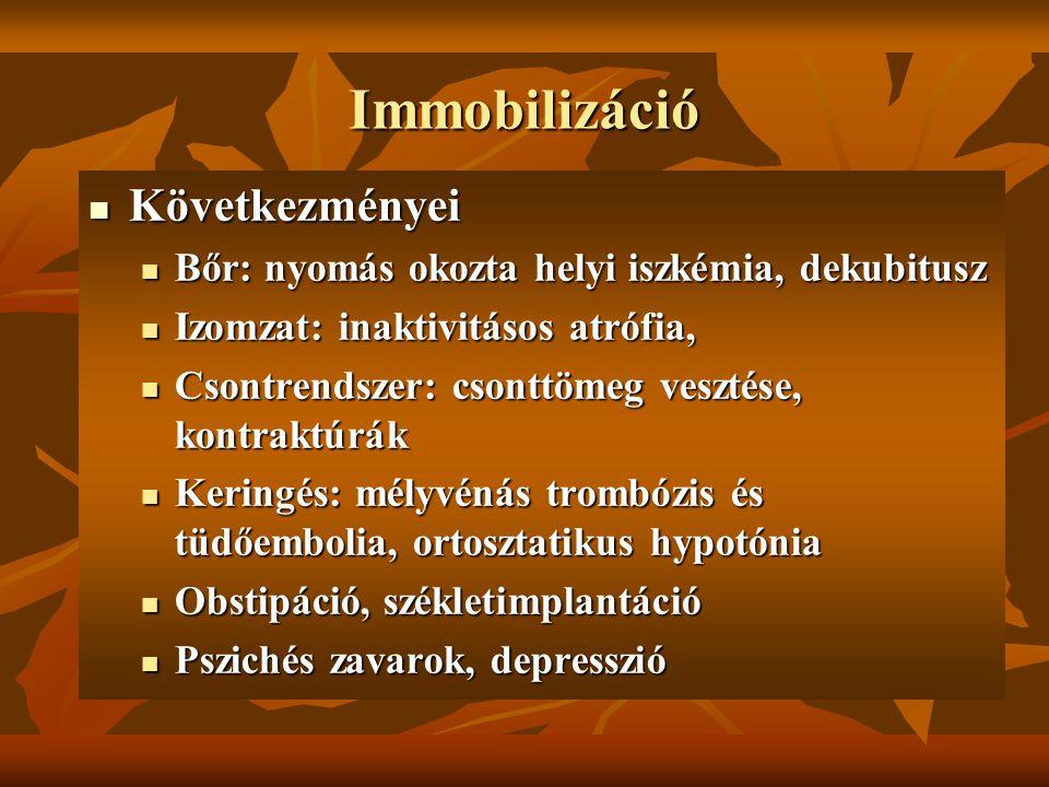 Immobilizáció Következményei Következményei Bőr: nyomás okozta helyi iszkémia, dekubitusz Bőr: nyomás okozta helyi iszkémia, dekubitusz Izomzat: inakt