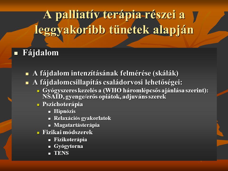 A palliatív terápia részei a leggyakoribb tünetek alapján Fájdalom Fájdalom A fájdalom intenzításának felmérése (skálák) A fájdalom intenzításának fel