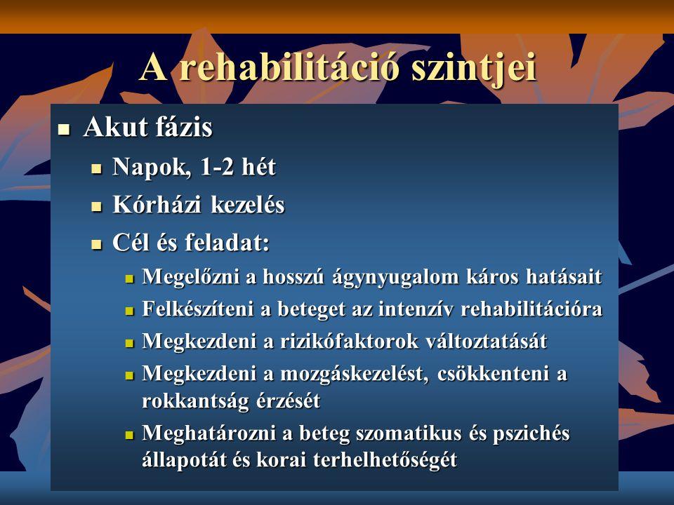 A rehabilitáció szintjei Akut fázis Akut fázis Napok, 1-2 hét Napok, 1-2 hét Kórházi kezelés Kórházi kezelés Cél és feladat: Cél és feladat: Megelőzni