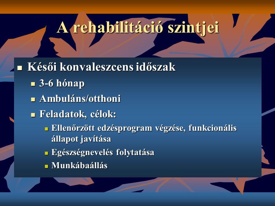 A rehabilitáció szintjei Késői konvaleszcens időszak Késői konvaleszcens időszak 3-6 hónap 3-6 hónap Ambuláns/otthoni Ambuláns/otthoni Feladatok, célo