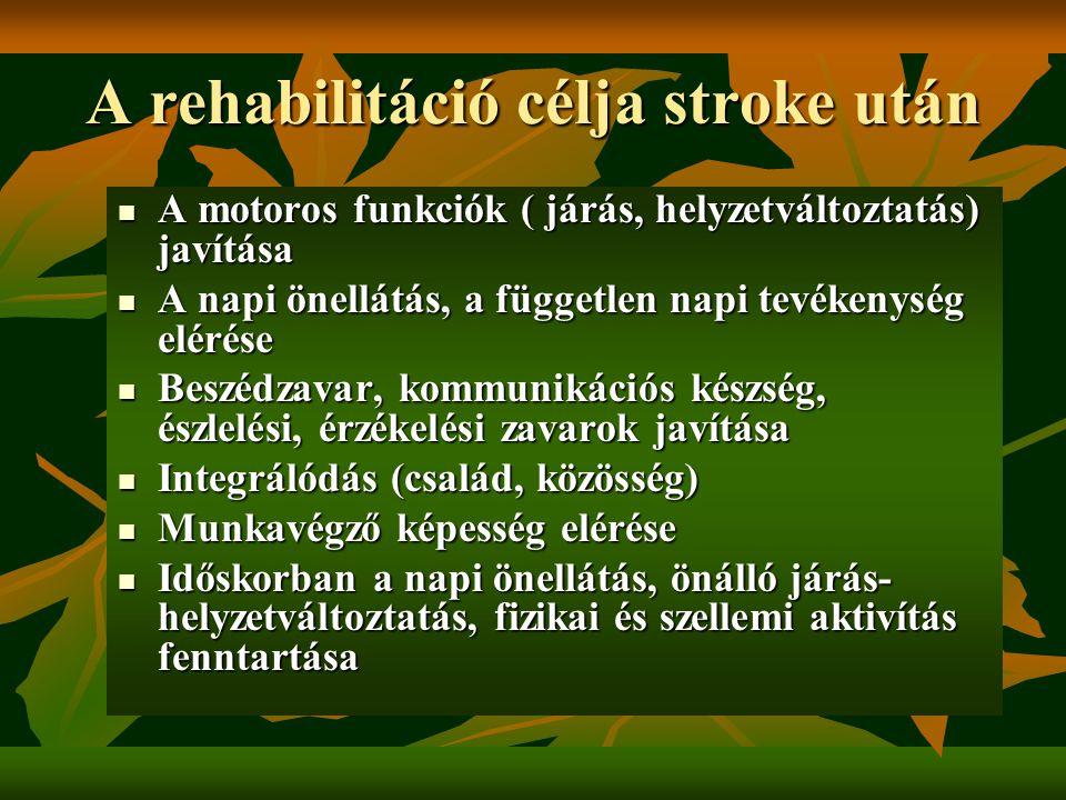 A rehabilitáció célja stroke után A motoros funkciók ( járás, helyzetváltoztatás) javítása A motoros funkciók ( járás, helyzetváltoztatás) javítása A