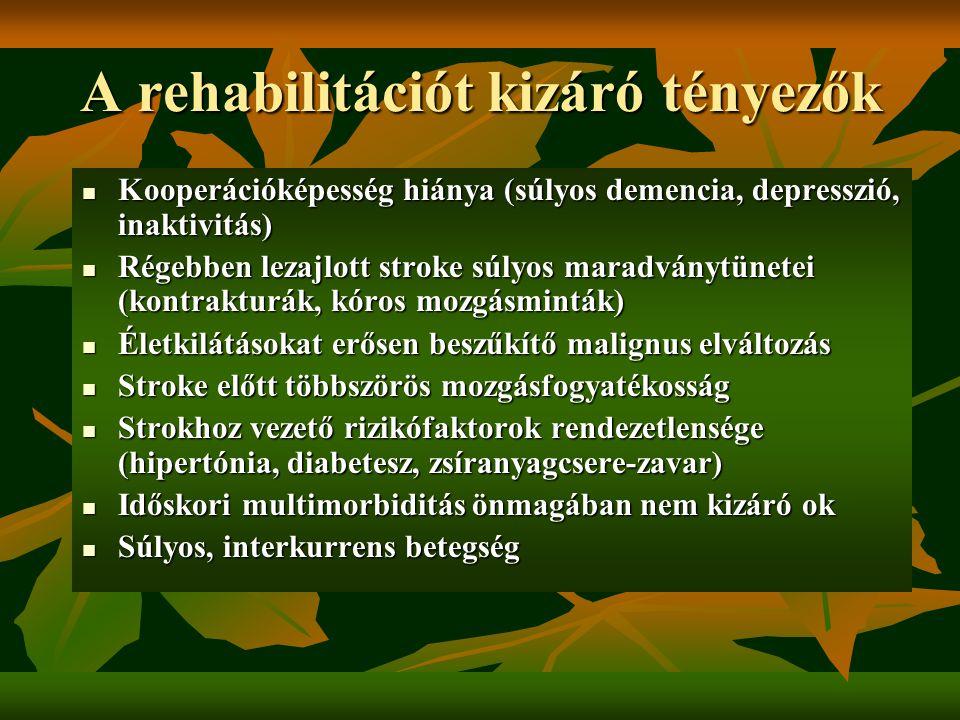 A rehabilitációt kizáró tényezők Kooperációképesség hiánya (súlyos demencia, depresszió, inaktivitás) Kooperációképesség hiánya (súlyos demencia, depr