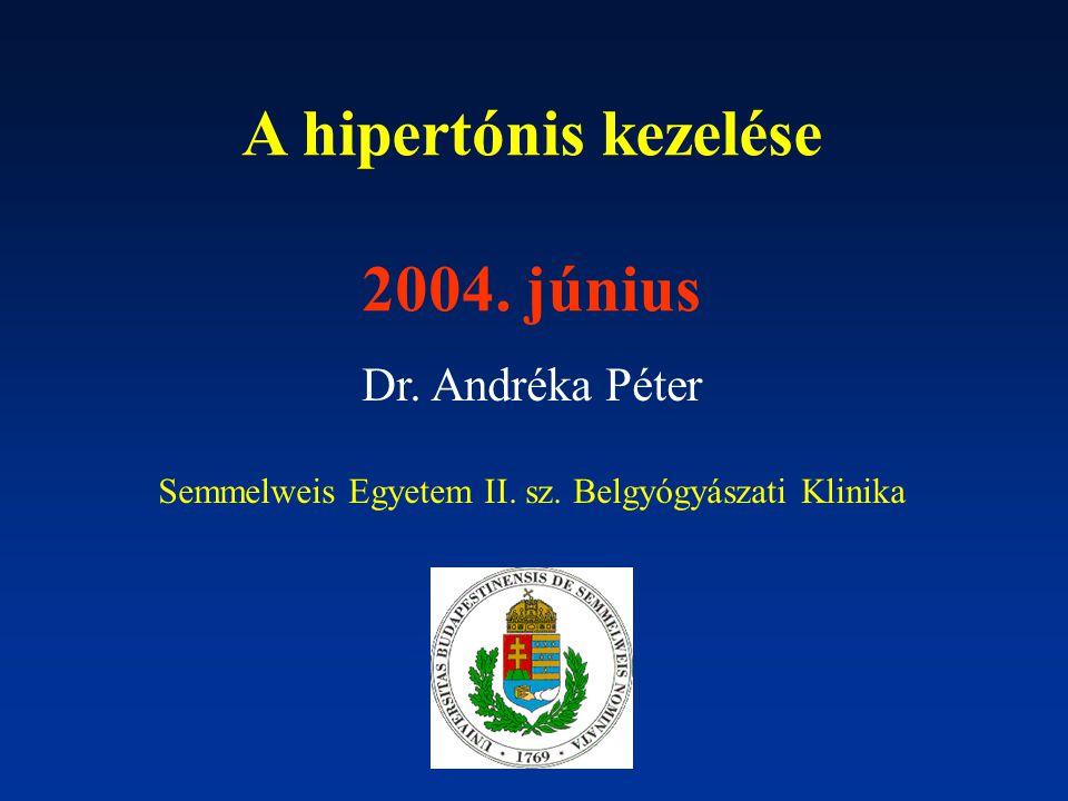 A hipertónis kezelése 2004. június Dr. Andréka Péter Semmelweis Egyetem II.